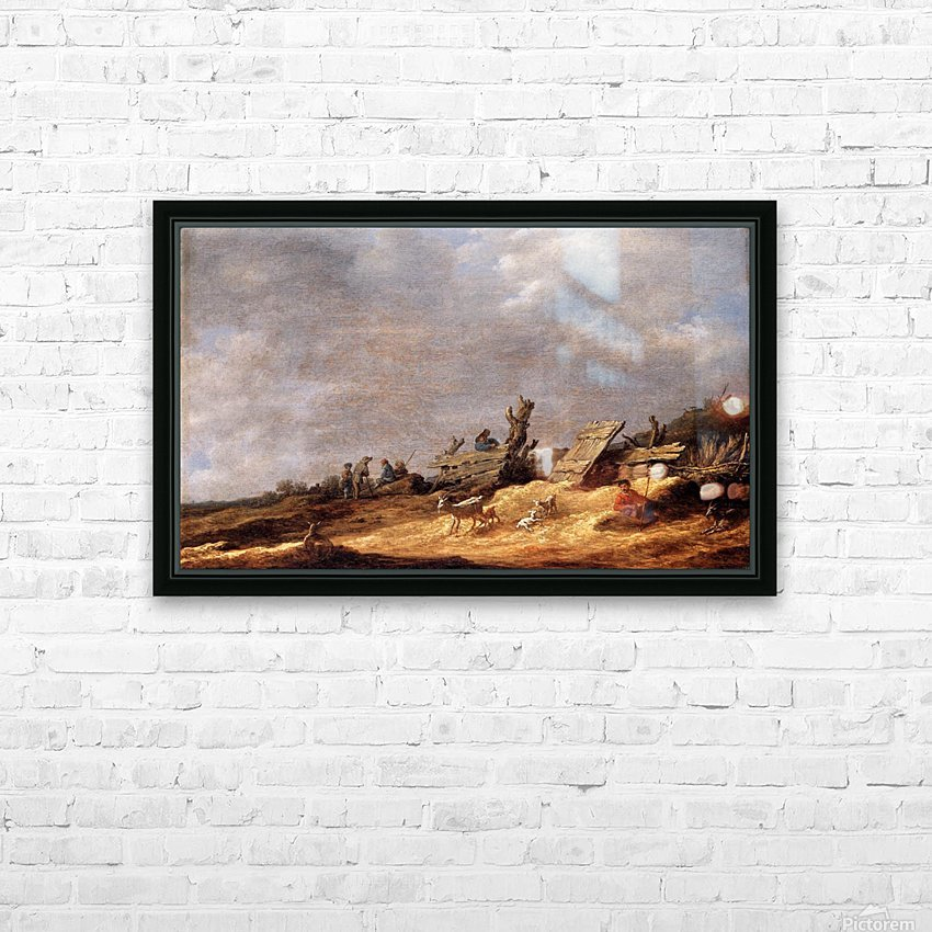 Dune Landscape with animals HD Sublimation Metal print with Decorating Float Frame (BOX)