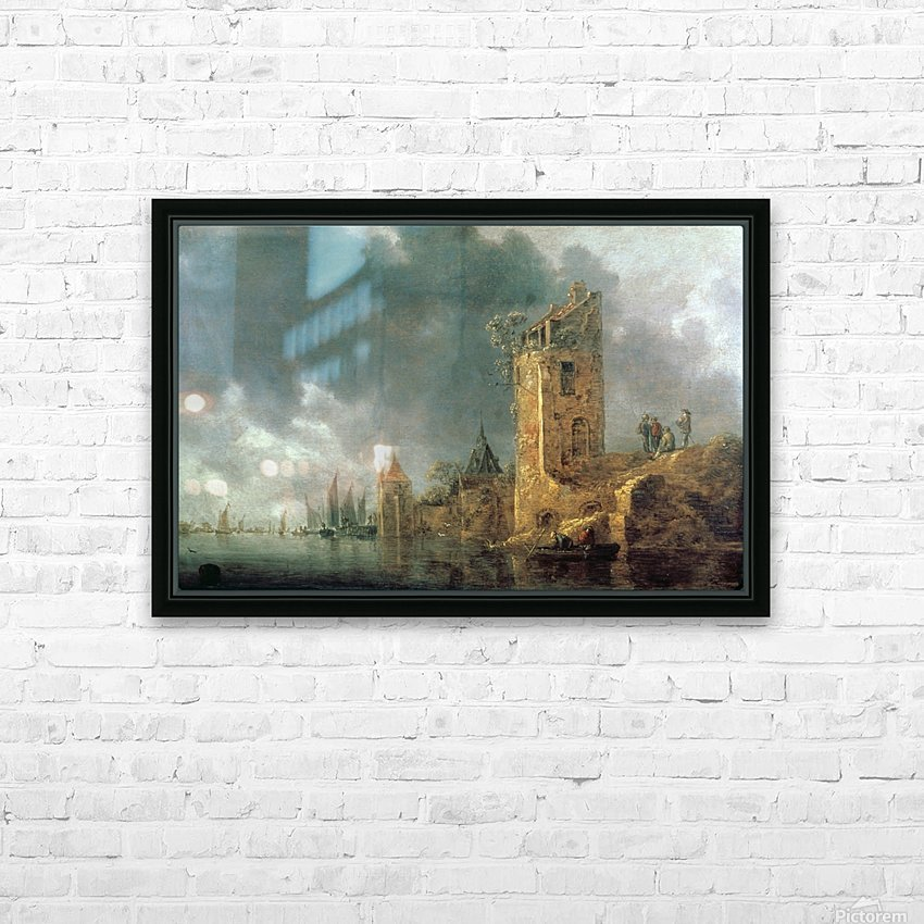 River Scene with Ruined Tower HD Sublimation Metal print with Decorating Float Frame (BOX)