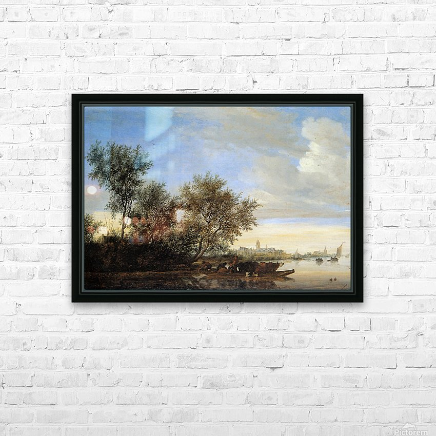 River landscape with ferry Sun HD Sublimation Metal print with Decorating Float Frame (BOX)