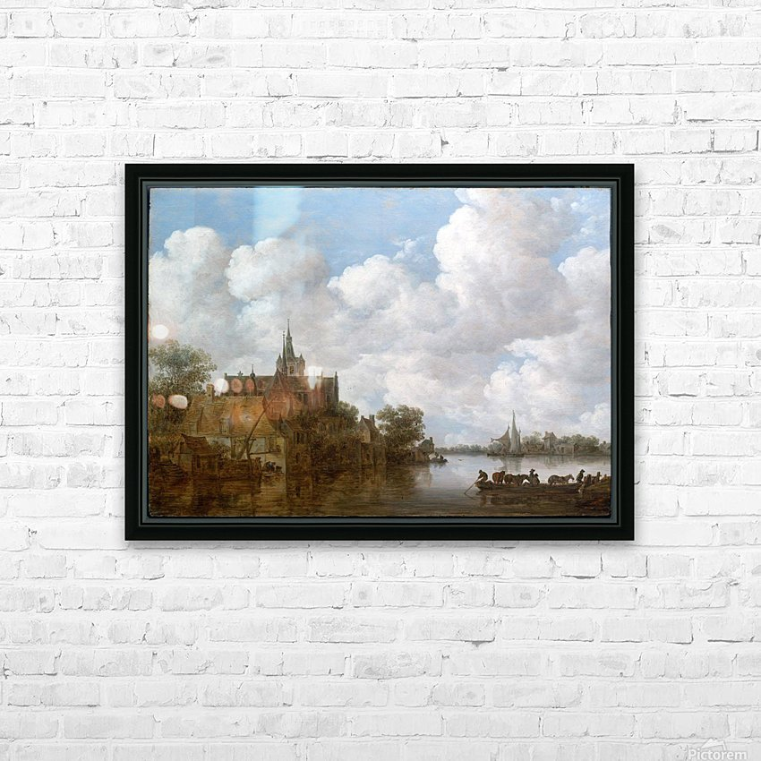 Landscape with a Ferry and a Church HD Sublimation Metal print with Decorating Float Frame (BOX)