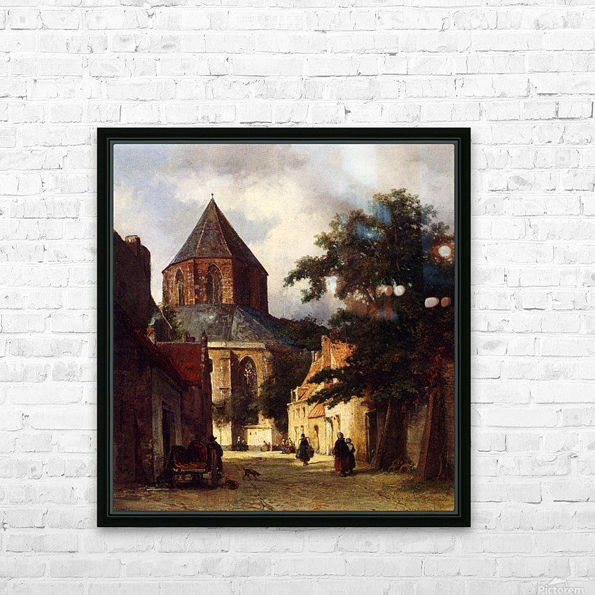 Street with Church HD Sublimation Metal print with Decorating Float Frame (BOX)