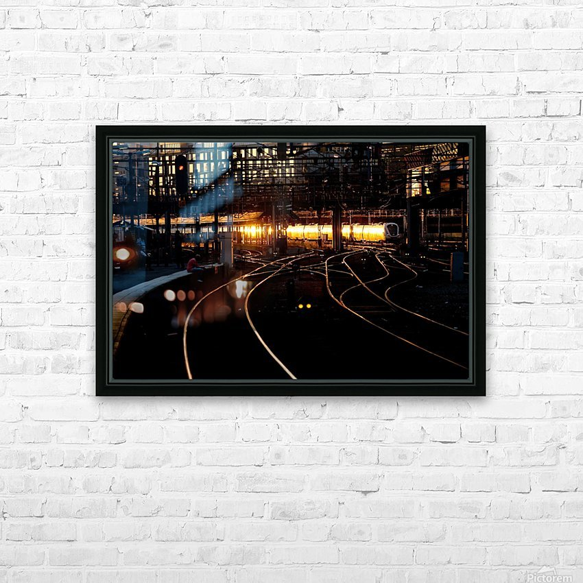 Golden train HD Sublimation Metal print with Decorating Float Frame (BOX)