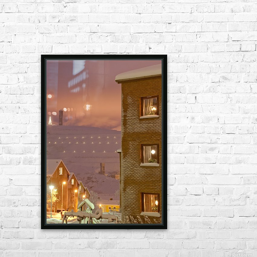 Midwinter mine town HD Sublimation Metal print with Decorating Float Frame (BOX)