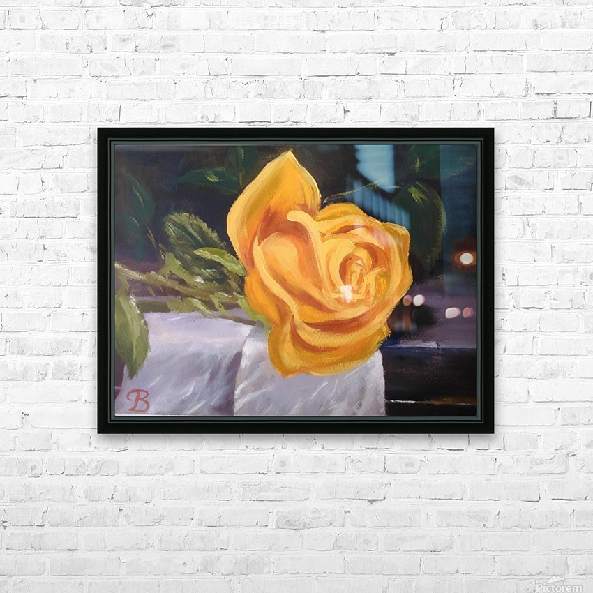 Single rose   HD Sublimation Metal print with Decorating Float Frame (BOX)