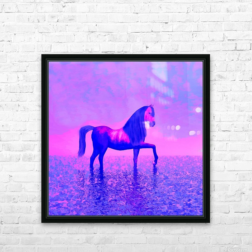 lonely horse HD Sublimation Metal print with Decorating Float Frame (BOX)