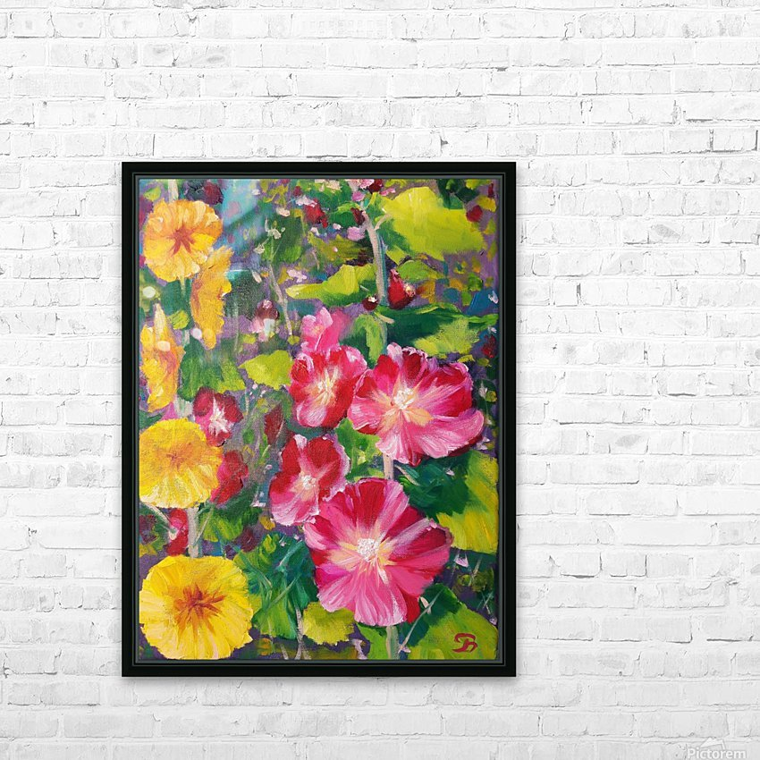 Hollyhocks  HD Sublimation Metal print with Decorating Float Frame (BOX)