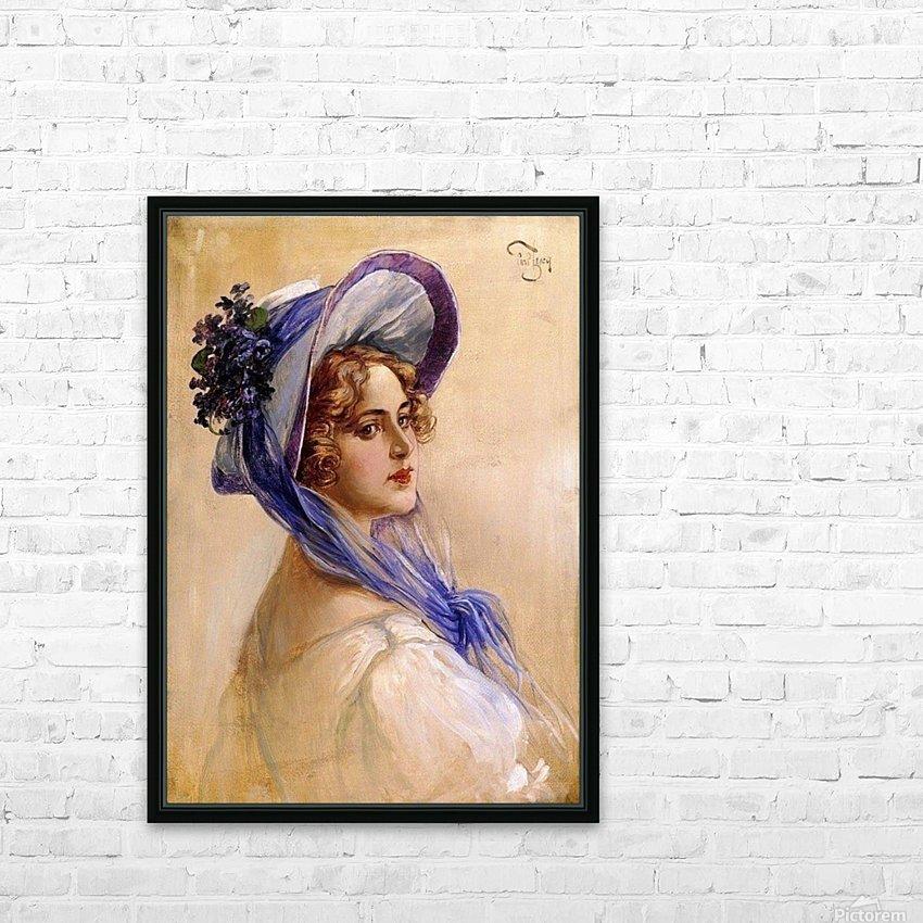 Youbg lady with purple hat HD sublimation métal imprimé avec décoration flotteur cadre (boîte)