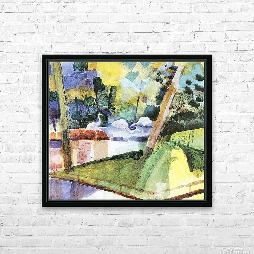 Flamingos in the Zoo by August Macke HD Sublimation Metal print with Decorating Float Frame (BOX)