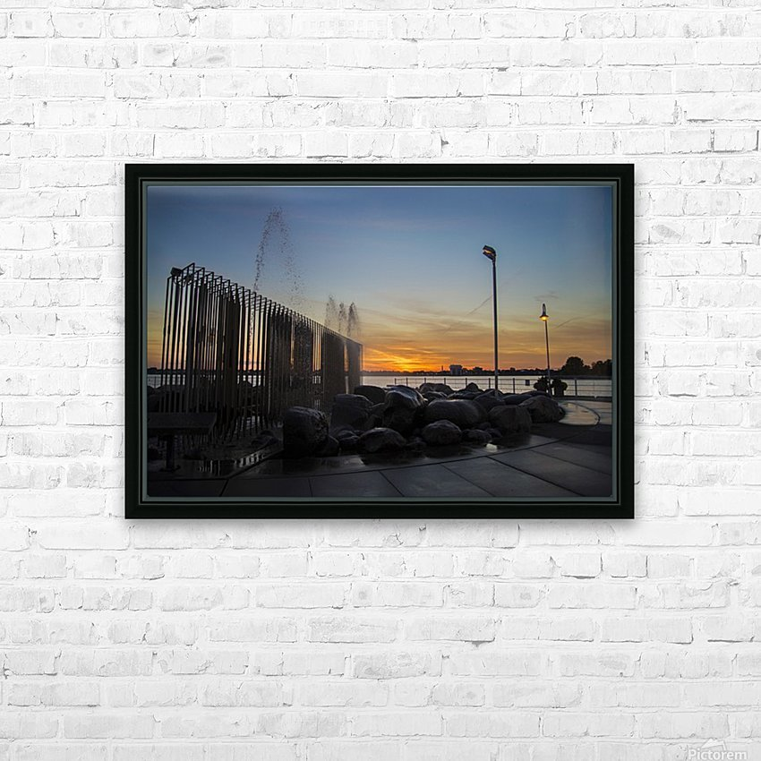 Fountain Sunset HD Sublimation Metal print with Decorating Float Frame (BOX)