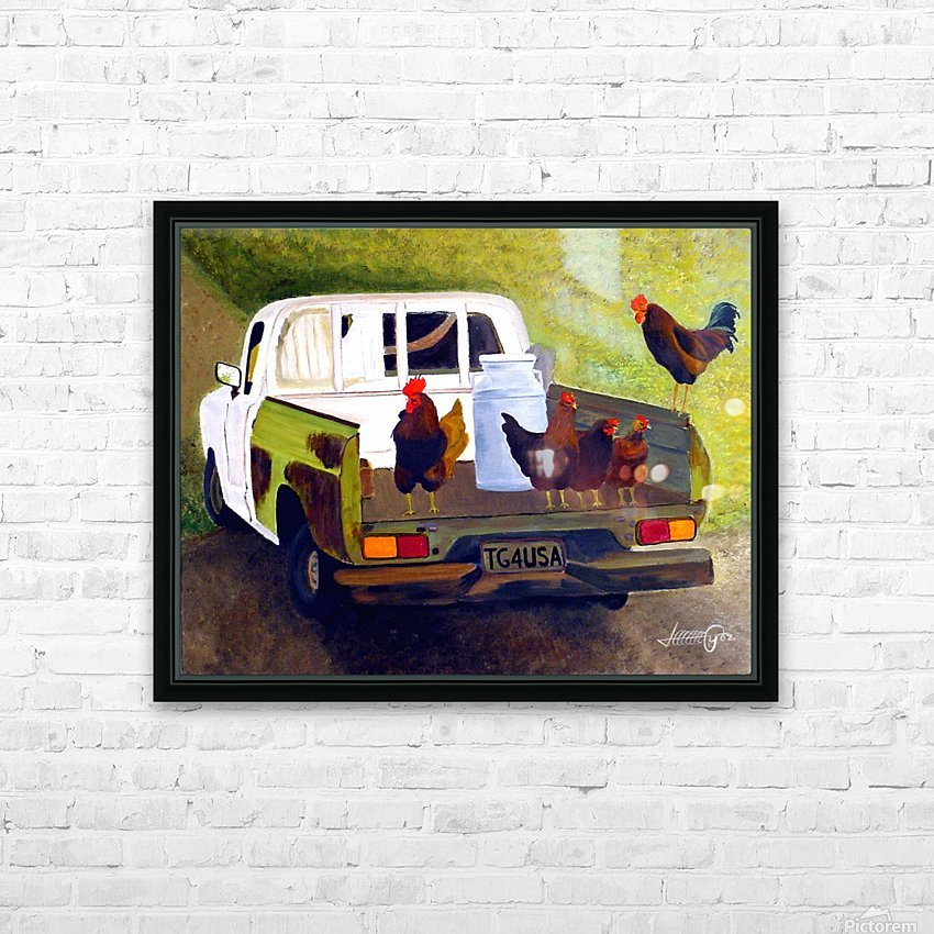 Hitching a Ride to Town HD Sublimation Metal print with Decorating Float Frame (BOX)