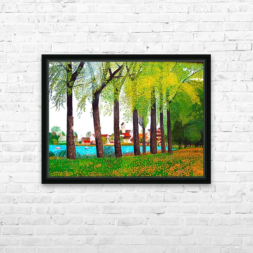 Swiss Village Spring Day HD Sublimation Metal print with Decorating Float Frame (BOX)