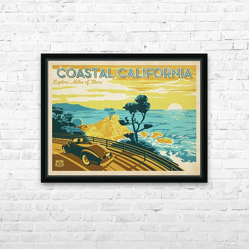 Coastal California travel poster HD Sublimation Metal print with Decorating Float Frame (BOX)