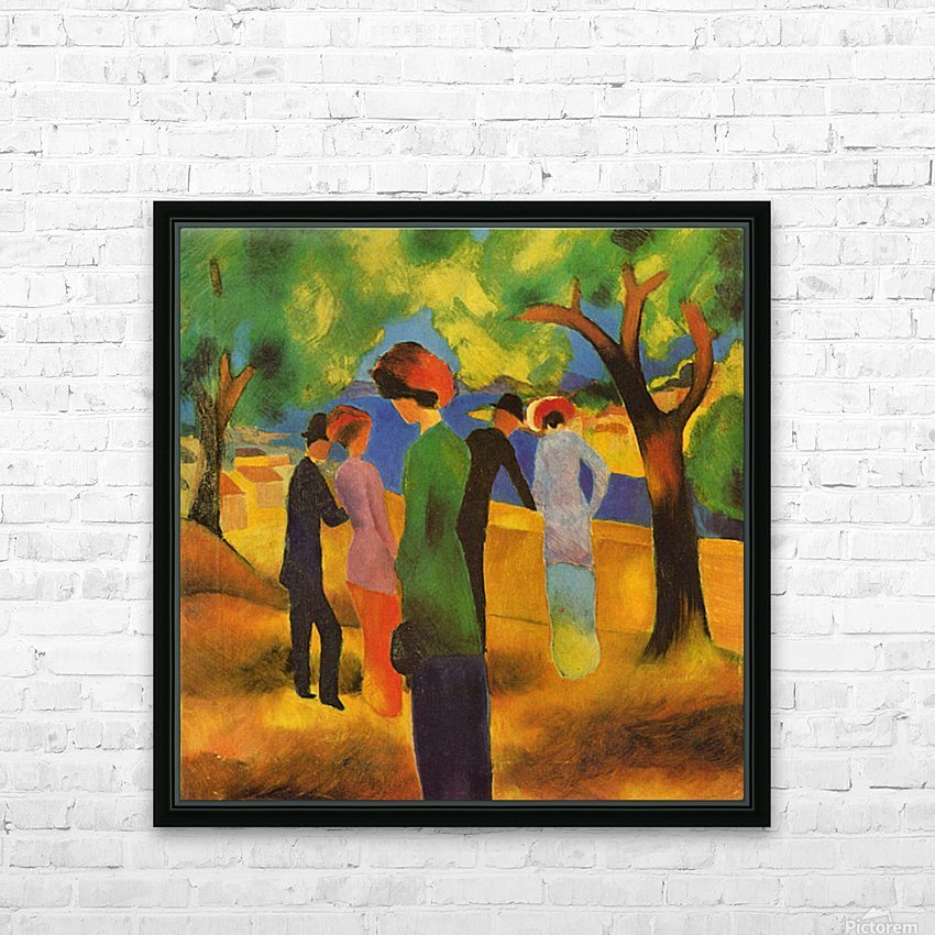 Lady in a green jacket by August Macke HD Sublimation Metal print with Decorating Float Frame (BOX)