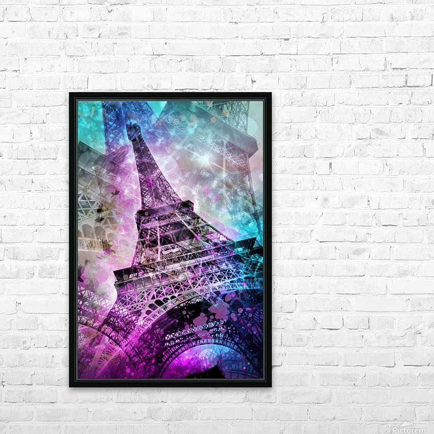 Pop Art Eiffel Tower HD Sublimation Metal print with Decorating Float Frame (BOX)