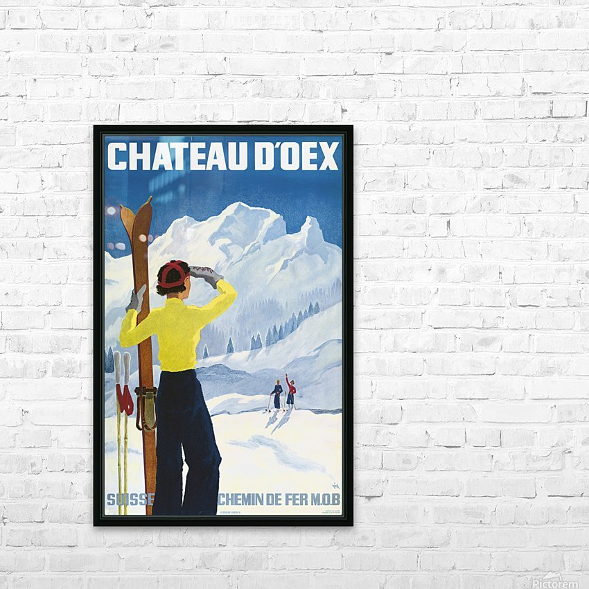 Poster for the village of Chateau dOex in the canton of Vaud in Switzerland HD Sublimation Metal print with Decorating Float Frame (BOX)