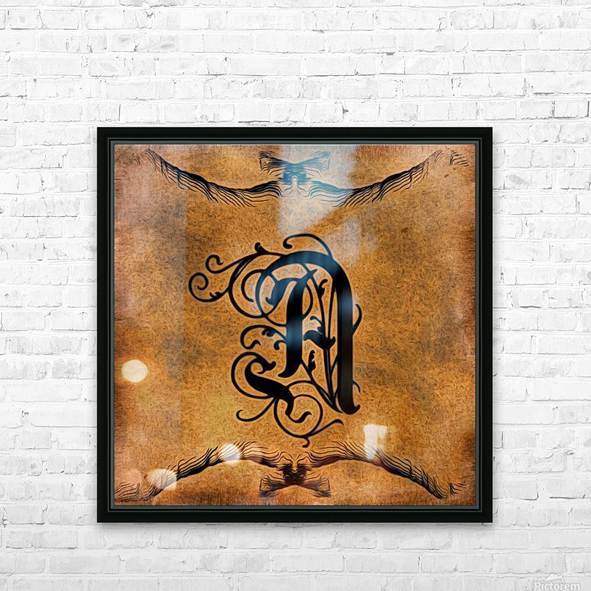 Beautiful Monogram Letter A HD Sublimation Metal print with Decorating Float Frame (BOX)