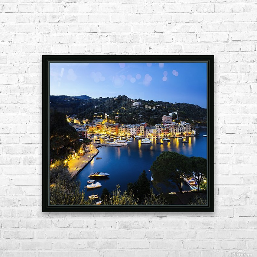View of the harbour at dusk; Portofino, Liguria, Italy HD Sublimation Metal print with Decorating Float Frame (BOX)