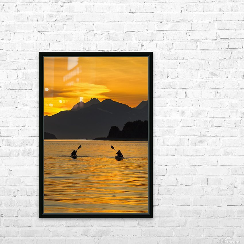 Sea Kayaking on a sublime evening in Lynn Canal near Eagle Beach State Recreation Area, Juneau. Alaska. Chilkat Mountains beyond in the distance. HD Sublimation Metal print with Decorating Float Frame (BOX)