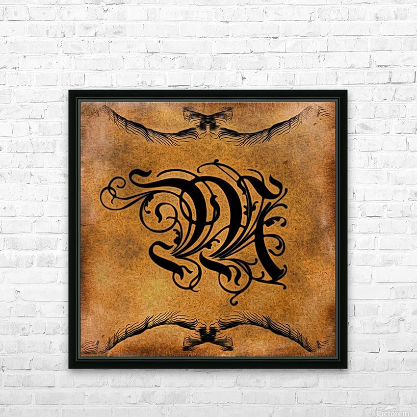 Beautiful Monogram Letter M HD Sublimation Metal print with Decorating Float Frame (BOX)