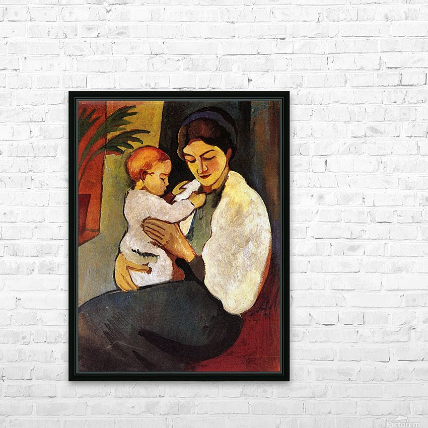 Mother and Child by August Macke HD Sublimation Metal print with Decorating Float Frame (BOX)