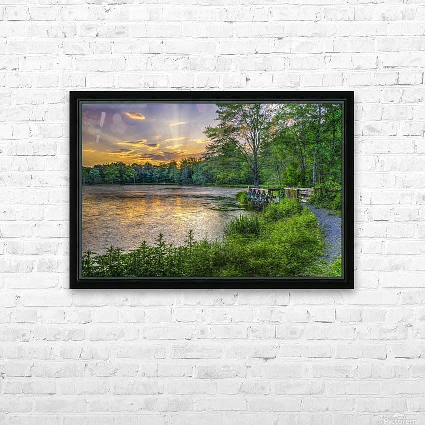 Lakeside sunset; Bushkill, Pennsylvania, United States of America HD Sublimation Metal print with Decorating Float Frame (BOX)