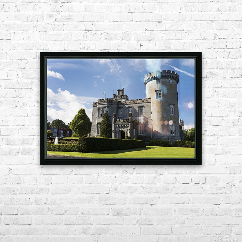 Stone castle with turret, manicured grass, gardens, fountain, blue sky and clouds; County Clare, Ireland HD Sublimation Metal print with Decorating Float Frame (BOX)