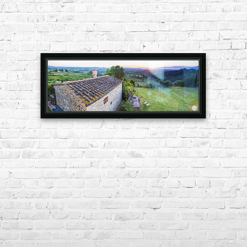 A stone house and a view of the lush landscape at sunset, Villa Capanuccia; Florence, Italy HD Sublimation Metal print with Decorating Float Frame (BOX)