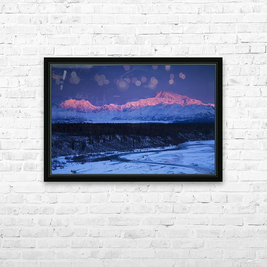 Alpenglow on Mt. McKinley and Mt. Hunter as seen from the Denali South Overlook along the Parks Highway, Denali State Park, Alaska, Winter HD Sublimation Metal print with Decorating Float Frame (BOX)