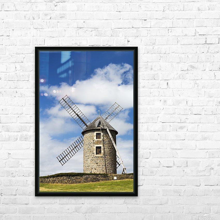 An old stone windmill on a hillside with wooden blades, surrounded by a stone fence with blue sky and clouds; Brehec, Brittany, France HD Sublimation Metal print with Decorating Float Frame (BOX)