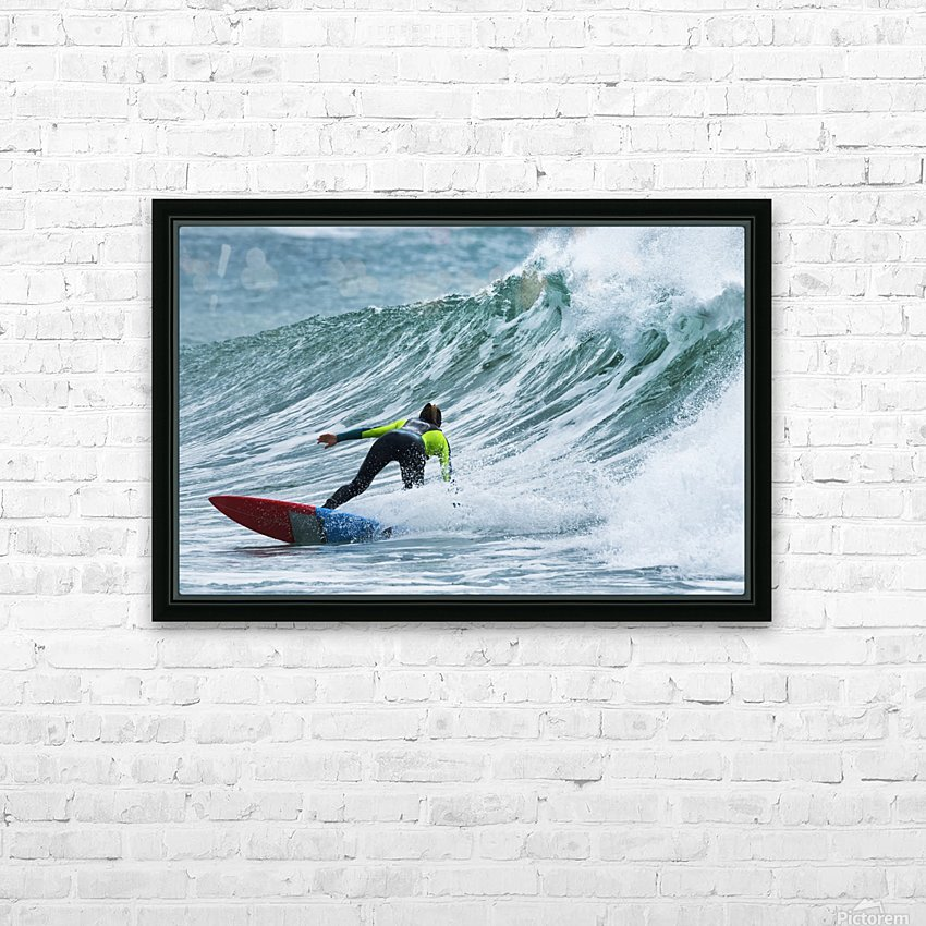 Surfer catching a wave; Tarifa, Cadiz, Andalusia, Spain HD Sublimation Metal print with Decorating Float Frame (BOX)