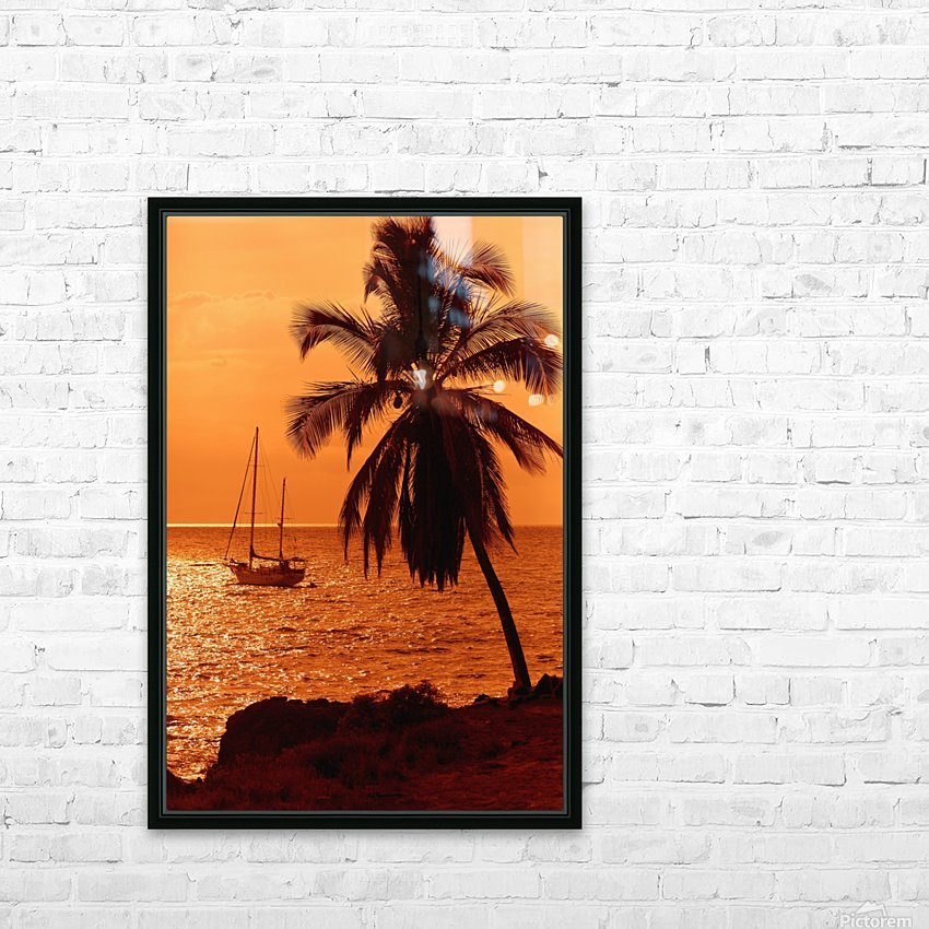 Sailboat and palm tree at sunset; Kihei, Maui, Hawaii, United States of America HD Sublimation Metal print with Decorating Float Frame (BOX)