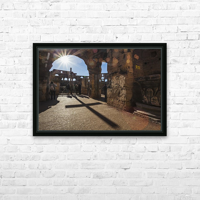 Sunburst through an archway at the Colosseum and a shadow of a cross; Rome, Italy HD Sublimation Metal print with Decorating Float Frame (BOX)