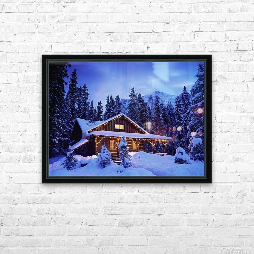 Cabin in the woods illuminated by Christmas lights HD Sublimation Metal print with Decorating Float Frame (BOX)