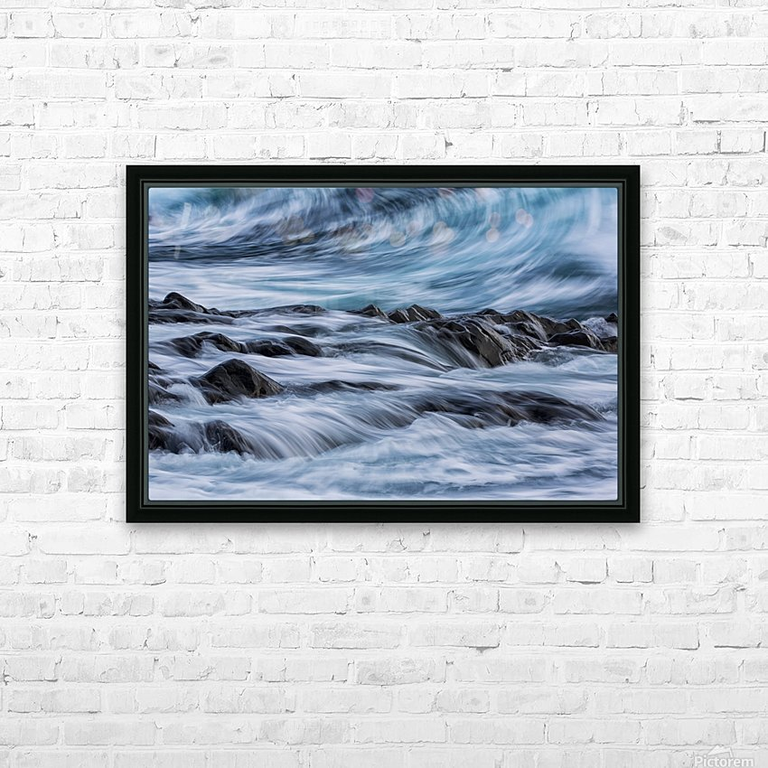 Long exposure of waves striking the coastline and flowing over rocks; Iceland HD Sublimation Metal print with Decorating Float Frame (BOX)