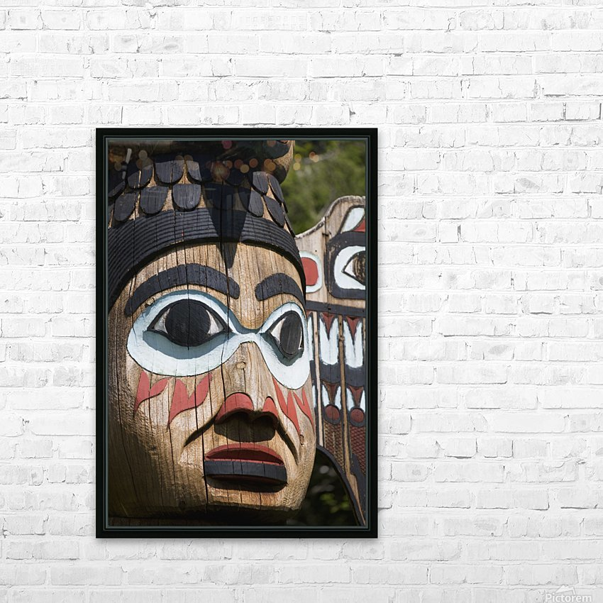 Detail of a figure carved into a Totem Pole, Totem Bight State Historical Park, Ketchikan, Southeast Alaska, USA, Spring HD Sublimation Metal print with Decorating Float Frame (BOX)