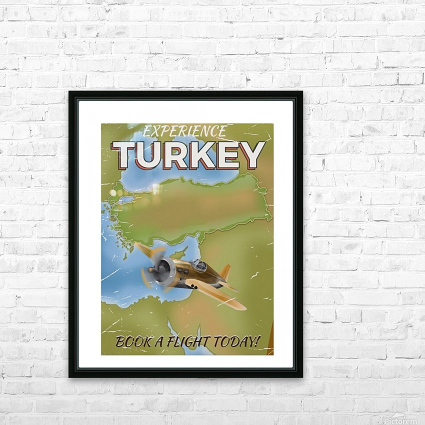 Turkey vintage travel poster HD Sublimation Metal print with Decorating Float Frame (BOX)
