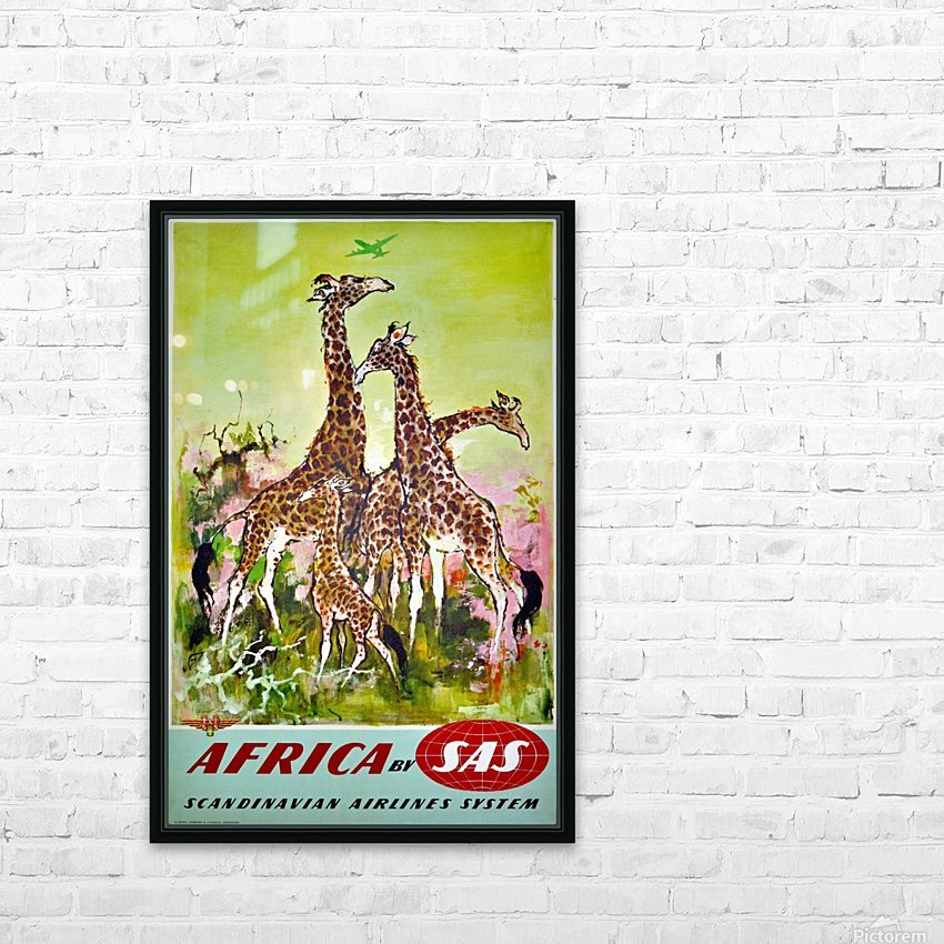 Scandinavian Airlines Africa by SAS original advertising poster HD Sublimation Metal print with Decorating Float Frame (BOX)
