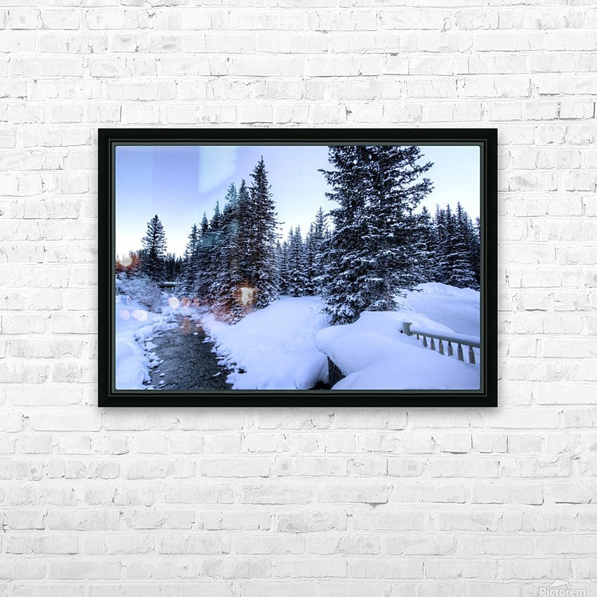 Snowy crossing HD Sublimation Metal print with Decorating Float Frame (BOX)