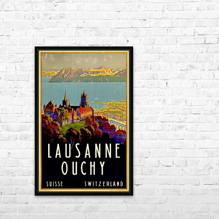 Lausanne Switzerland Travel Poster HD Sublimation Metal print with Decorating Float Frame (BOX)