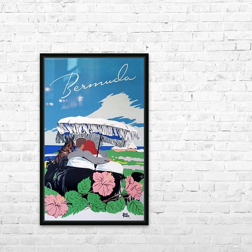Bermuda Beach vintage travel poster HD Sublimation Metal print with Decorating Float Frame (BOX)