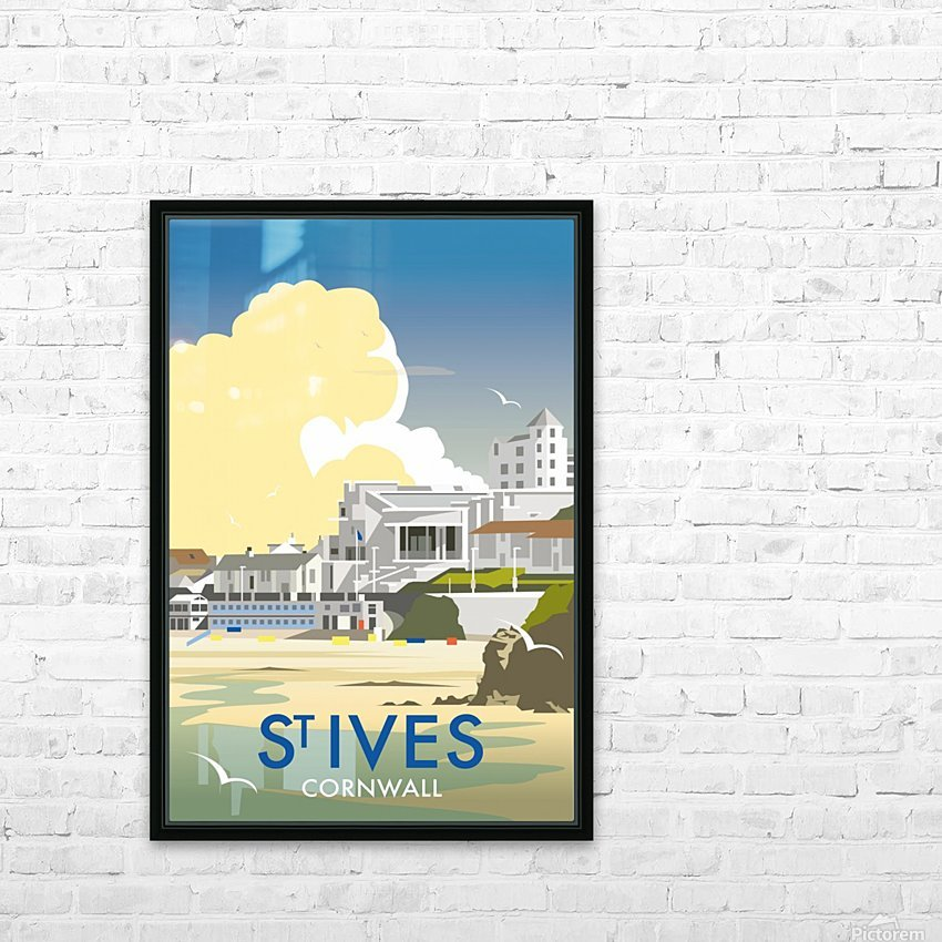Saint Ives Cornwall vintage travel poster HD Sublimation Metal print with Decorating Float Frame (BOX)