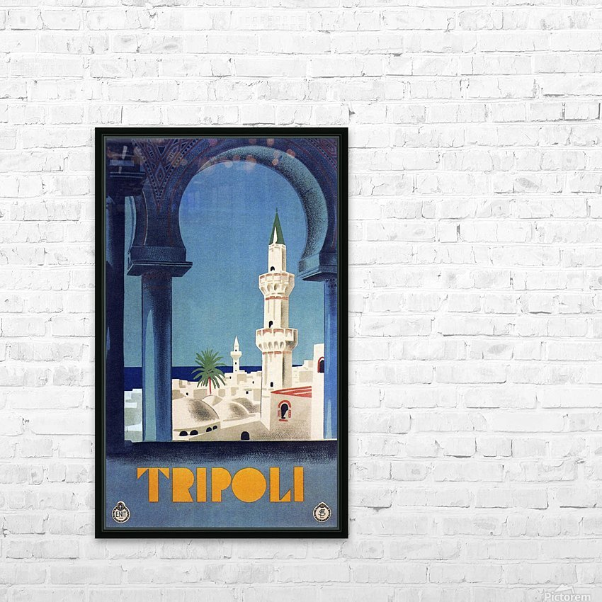 Tripoli travel poster HD Sublimation Metal print with Decorating Float Frame (BOX)