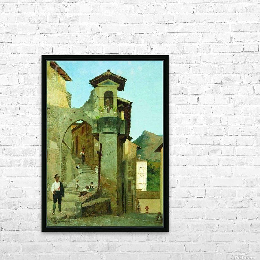 Italian courtyard HD Sublimation Metal print with Decorating Float Frame (BOX)