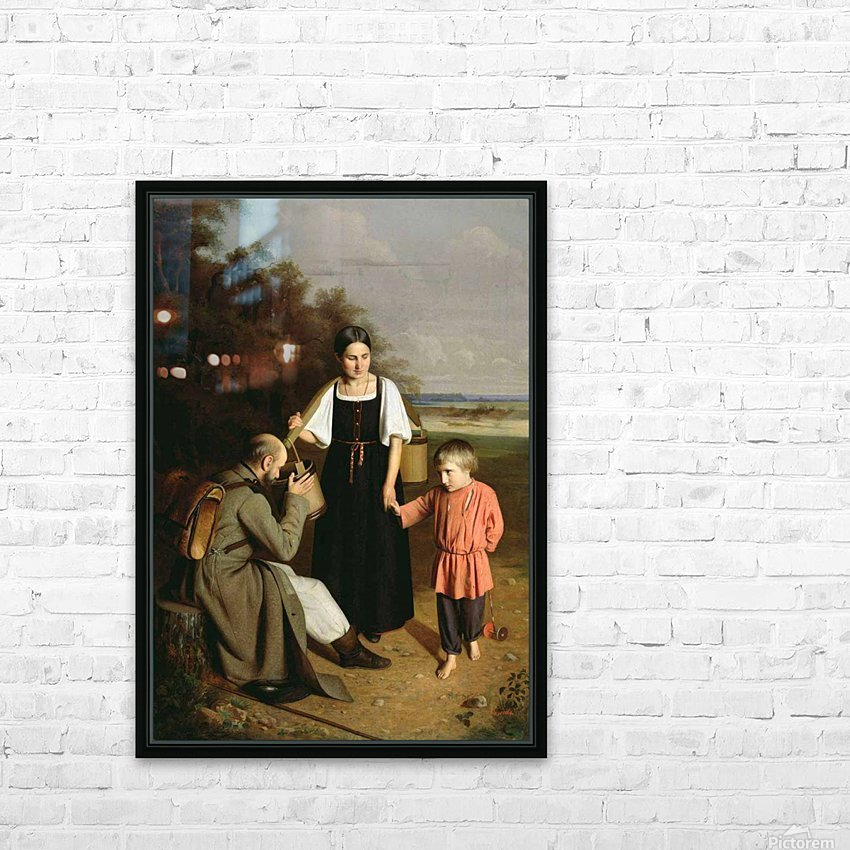 Peasant offering to a soldier a drink HD Sublimation Metal print with Decorating Float Frame (BOX)