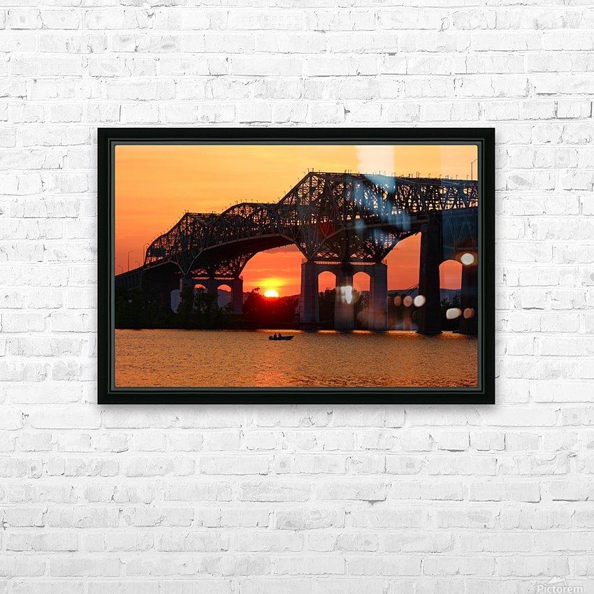 Champlain Bridge sunset HD Sublimation Metal print with Decorating Float Frame (BOX)
