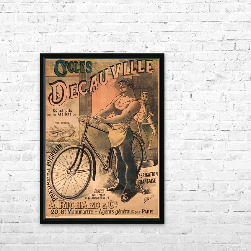 Cycles DeCauville vintage poster HD Sublimation Metal print with Decorating Float Frame (BOX)