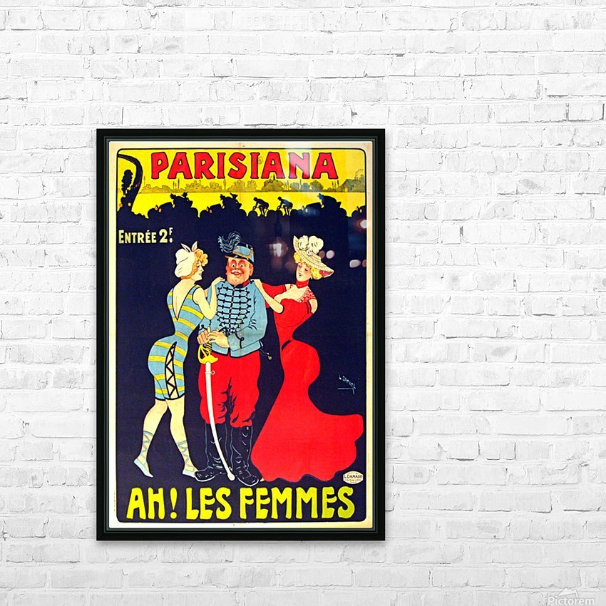 Parisiana Ah Les Femmes poster printed circa 1895 HD Sublimation Metal print with Decorating Float Frame (BOX)