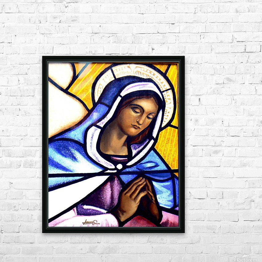 Mary in Glass HD Sublimation Metal print with Decorating Float Frame (BOX)
