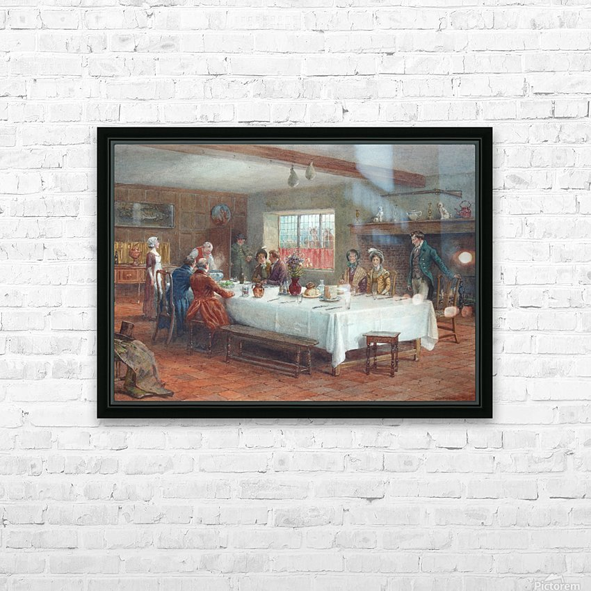 A meal stop at a coaching inn HD Sublimation Metal print with Decorating Float Frame (BOX)
