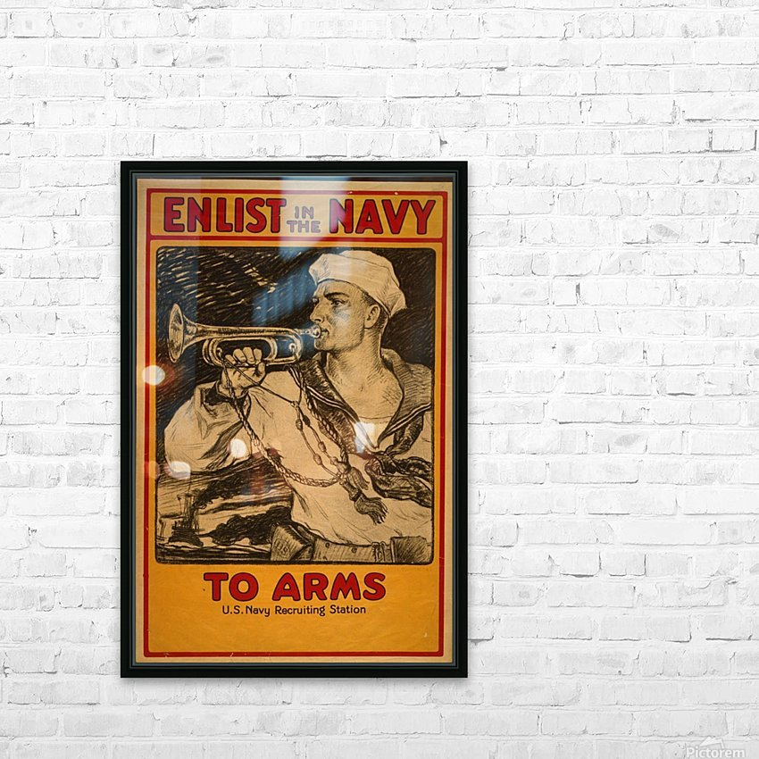 Enlist in the Navy HD Sublimation Metal print with Decorating Float Frame (BOX)